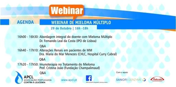 APCL - Webinar sobre Mieloma Múltiplo decorreu no dia  29 de Outubro